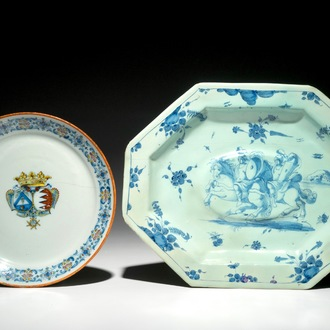 A polychrome armorial plate and a blue and white octagonal dish, Savona, Italy, 18th C.
