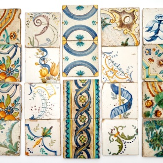 A large collection of Spanish large format tiles, 18/19th C.