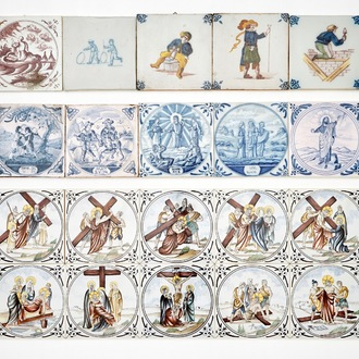 A collection of various tiles, mostly Dutch, incl. religious scenes, 18/20th C.