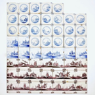 54 Dutch Delft manganese and blue and white tiles with landscapes, 19th C.