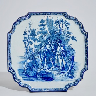 A Dutch Delft blue and white plaque with a biblical scene, 18th C.