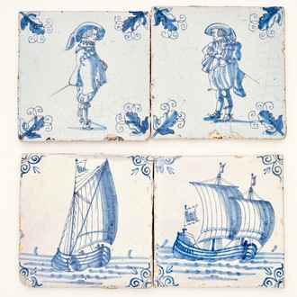 Four Dutch Delft blue and white tiles with soldiers and ships, 17th C.