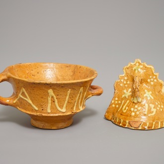 A Dutch slipware miniature fire bell dated 1613 and a bowl dated 1593, Northern Netherlands, 16/17th C.