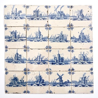 A field of 16 Dutch Delft blue and white tiles with fine landscapes, 18th C.
