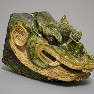 A Chinese roof tile shaped as a dragon's head, 19th C.