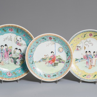 Three Chinese famille rose dishes with ladies in a garden, Qianlong marks, Republic, 20th C.