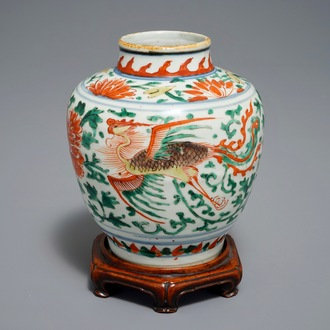 A Chinese wucai 'double phoenix' vase, Transitional period
