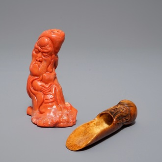 A Chinese carved coral figure and an ivory tea spoon, 19th C.