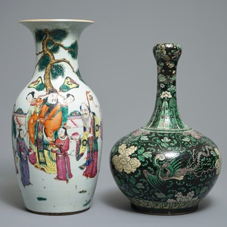 A Chinese famille noire garlic mouth vase and a famille rose vase with large figures, 19th C.