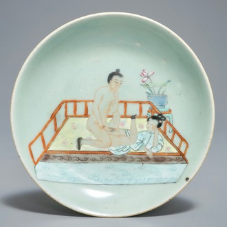 A Chinese famille rose celadon-ground plate with erotical design, 19th C.