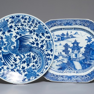A Chinese blue and white 'phoenix' dish and an oval landscape dish, 19th C. and Qianlong