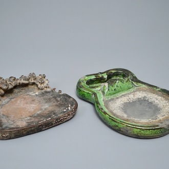 Two large Chinese Duan ink stones, 19/20th C.