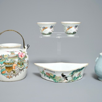 Two Chinese famille rose cups, a qianjiang cai teapot and dish and a miniature hu vase, 19/20th C.