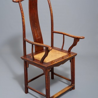"""A Chinese elm wood """"official's hat"""" armchair, 19th C."""