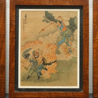 Five Chinese paintings on textile, 19/20th C.