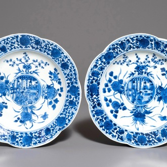 A pair of Chinese blue and white lobed plates with central medallions, Kangxi