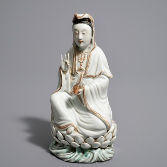 A Chinese model of Guanyin on lotus throne, Republic, 20th C.