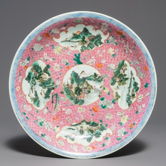 A Chinese famille rose dish with landscape medallions, Qianlong mark, Republic, 20th C.