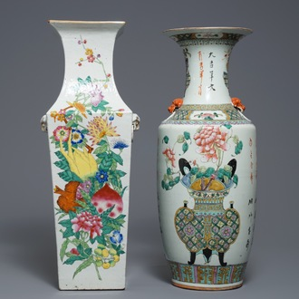 Two tall Chinese famille rose vases, 19/20th C.