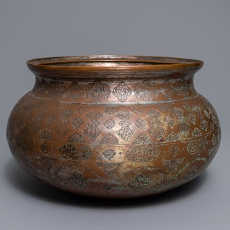 A large Islamic silvered and tinned copper basin, prob. Iran or Syria, 19th C.
