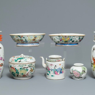A varied collection of Chinese famille rose and qianjiang cai wares, 19/20th C.