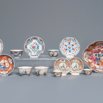 A group of various Chinese famille rose and Imari-style porcelain wares, Kangxi/Qianlong