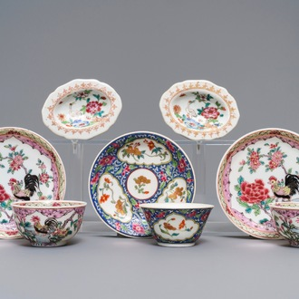 Three Chinese famille rose cups and saucers and a pair of salts, Qianlong and later