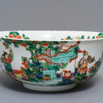 A large Chinese famille verte 'warriors' bowl, 19th C.
