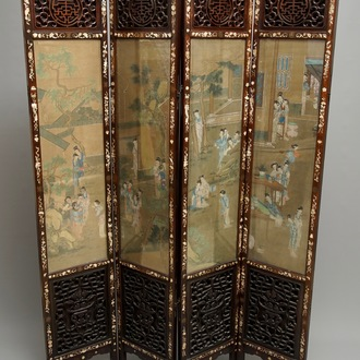 A Chinese mother-of-pearl inlaid wooden screen with silk paintings, 19th C.