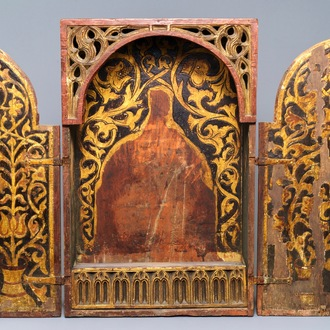 A Spanish painted wooden monstrance cabinet, 17th C.
