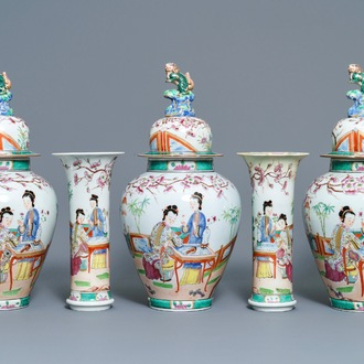 A Bayeux famille rose-style five-piece chinoiserie garniture, France, 19th C.