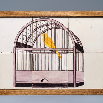 A polychrome Dutch Delft tile mural with a bird cage, 18th C.