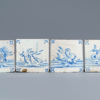 Four Delft blue and white 'seacreature' tiles, Ghent, late 17th C.