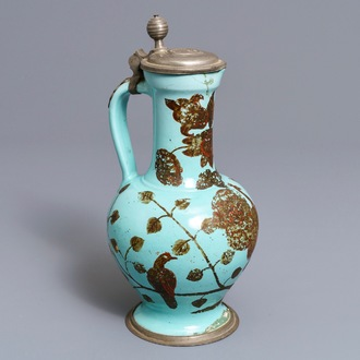 A German pewter-mounted turquoise ground ewer with birds among flowers, 17/18th C.