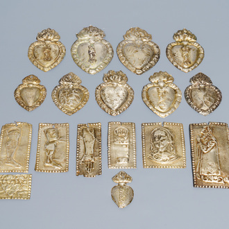 A collection of seventeen silver ex-voto plaques, 19/20th C.