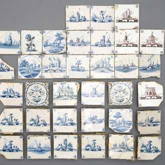 A varied collection of blue and manganese Delft tiles, 17/19th C.