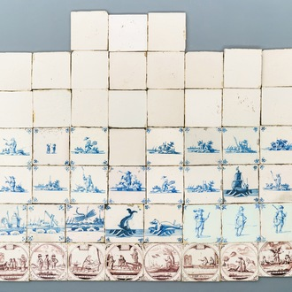 A varied collection of Dutch Delft and Flemish tiles, 17/18e eeuw