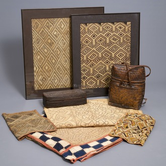 A collection of African textiles and two baskets, mostly Kuba, Congo, 19/20th C.
