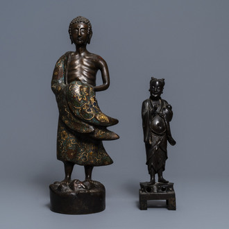 Two tall bronze figures of an immortal and an Arhat, China and Japan, 18/19th C.