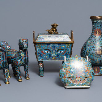 A Chinese cloisonné vase, an incense burner, a ruyi panel and a pair of deer, 18th C. and later