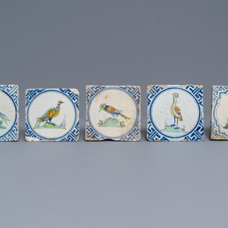 Five polychrome Dutch Delft tiles with birds and a deer, 1st half 17th C.