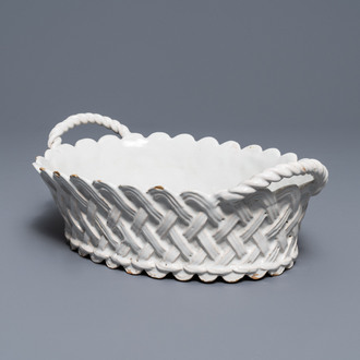 An oval monochrome white Brussels faience basket, 18th C.