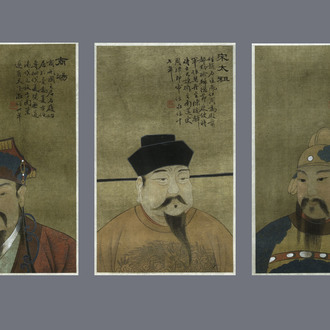 Chinese school, ink and colour on silk, Qing: Three portraits of historical emperors