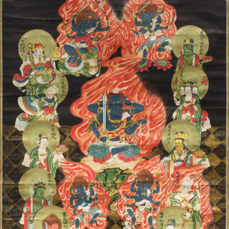 Chinese school, ink and colour on paper, Qing: 'Wrathful Guardians of Buddhism'