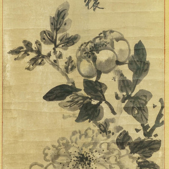 Chinese school, after Mi Fu (1051-1107), ink on paper, Qing: 'Peony blossoms'