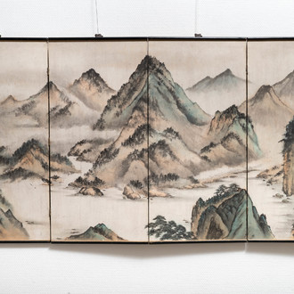 Chinese school, signed Tan Xun, 20th C., ink and colour on paper mounted as screen: 'Mountain landscape'