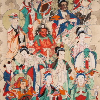 Chinese school, ink and colour on paper, Qing: 'Gods in heaven'