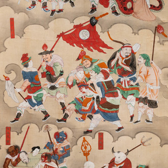 Chinese school, ink and colour on paper, Qing: 'Warriors and deities in heaven'