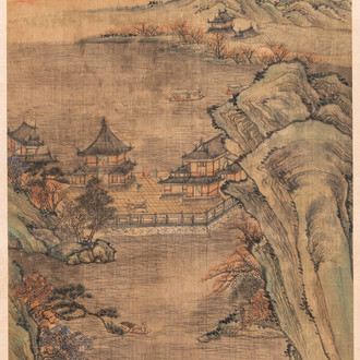 Chinese school, after Qiu Ying (c.1494-1551/52), ink and colour on silk: 'mountainous landscape', inscribed and dated 1545
