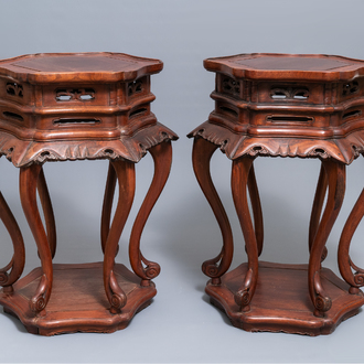 A pair of Chinese Ming-style wooden stands, 18/19th C.